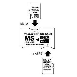 Adaptador Dual de tarjetas MicroSD a Memory Stick PRO Duo Photofast CR-5400