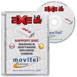 Axe Box CD or DVD disk covercase with software, drivers, manuals and videos