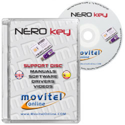 Car�tula Disco NEROKEY Box CD o DVD con software, drivers, manuales y videos