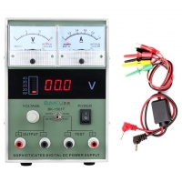 Regulated DC Power Supply with Digital LCD - Robust Digital Power Supply Digital fully multifunction and that can be applied in any field of electronics such as mobile phones, computers, consoles, automotive, etc... and which can not be absent from any workshop or service center. The output voltage is adjustable between 0.1 and 15 volts and emulates any type of battery or power source. It has an accurate consumption indicator of 0 ~ 1 Amp very useful for checking and detecting excesses in consumption of the devices.
