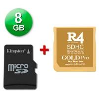 R4 SDHC Gold Pro 2017 + microSD 8 Gb + Juegos Instalados - Cartucho multimedia para consolas Nintendo 2DS, New 3DS, New 3DS XL, 3DS, 3DS XL incluso con firmware v11.4.0-37E. Se incluye una tarjeta microSD de 8 Gb con Juegos Instalados y probada con su cartucho multimedia. También funciona con las clásicas DS, DS Lite, DSi y DSi XL con v1.4.5E. Enviamos desde España por agencia 24 horas.