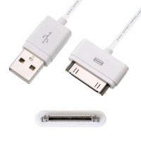 Compatible USB Cable iPhone / iPad / iPod Touch [1 meter] - Compatible with iPhone, 3G, 3GS, 4, 4S, iPad WiFi or 3G, iPad 2, iPod Touch and ultimately with devices with 30-pin dock connector. Suitable for charging and syncing with iTunes. Detachable 30-pin Dock connector ideal if you have to solder or make your own interface, hands-free car kit, iPod kit, audio/video cable or interface, etc ...
