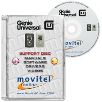 Genie Universal Support Disc with Manuals, Software and Videos - Disc entirely developed by our technical department with detailed instructions and complete manuals for the installation of your product. It also includes all the software and necessary drivers, as well explanatory videos of real procedures!