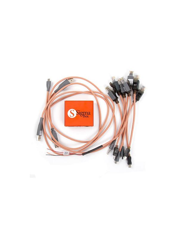 Sigma Box + 9 pcs Cable Set - The best multibrand solution to unlock and repair cell phones from brands such as Alcatel, Motorola, Huawei, ZTE, Sony, Orange, vodafone and hundreds of Chinese mobile phones based on CPUs from MTK, Broadcom, Qualcomm, ... Includes a great set of 9 cables needed to work with most terminals! It supports over 4000 different models and has an amazing support with weekly updates! Very easy to install and use!
