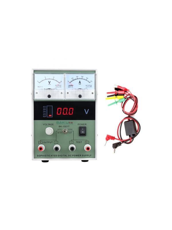 Fuente de Alimentación Regulable con LCD Digital - Robusta Fuente de Alimentación Digital totalmente multifunción y de aplicación en cualquier campo de la electrónica como la telefonía móvil, informática, consolas, automoción, etc... y que no puede faltar en ningún taller o servicio técnico. El voltaje de salida es regulable entre 0,1 y 15 voltios y emula cualquier tipo de batería o fuente de energía. Lleva un preciso indicador de consumo de 0 ~ 1 Amperios muy útil para comprobar y detectar excesos en consumos de los dispositivos.