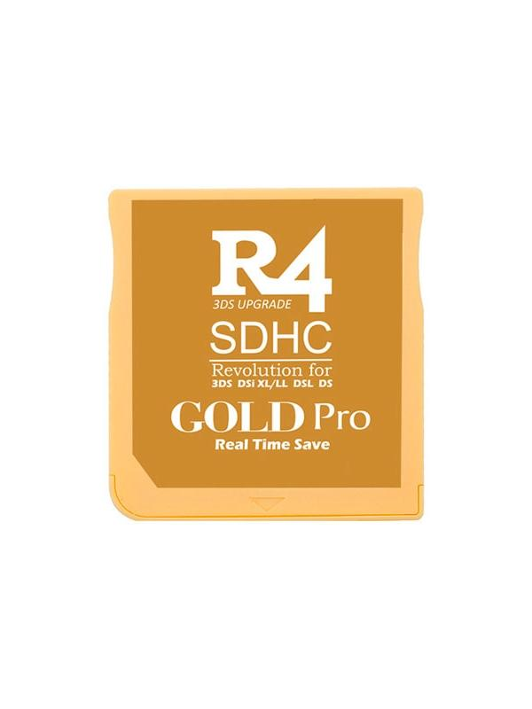R4 SDHC Gold Pro for 2DS, New 3DS / XL & DSi - Multimedia flash cart for Nintendo 2DS, New 3DS, New 3DS XL, 3DS, 3DS XL consoles even with firmware v11.6.0-39E. It also works with the classic DS, DS Lite, DSi and DSi XL with 1.4.5E. Main use intended for the execution of homebrew software, free distribution and open source software. We ship from Spain by 24 hours express courrier service.