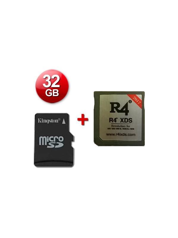 R4 XDS Caja Negra 2017 + microSD 32 Gb + Juegos Instalados - Cartucho multimedia para consolas Nintendo 2DS, New 3DS, New 3DS XL, 3DS, 3DS XL incluso con firmware v11.2.0-35E. Se incluye una tarjeta microSD de 32 Gb con Juegos Instalados y probada con su cartucho multimedia. También funciona con las clásicas DS, DS Lite, DSi y DSi XL con v1.4.5E. Enviamos desde España por agencia 24 horas.