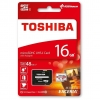 microSDHC 16 GB [Class 10 UHS-I] with SD Adapter - microSDHC / microSDXC 16 GB Toshiba memory card in blister packaging and with SD adapter.