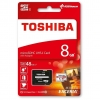 microSDHC 8 GB with SD Adapter - microSDHC / microSDXC 8 GB Toshiba memory card in blister packaging and with SD adapter.