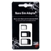 nanoSIM / microSIM / standard SIM  Convertors for iPhone 5 [3 adaptors set] - Turn your iPhone 5 nano SIM card with this adapters set into micro SIM size to use it in your iPhone 4, iPhone 4S, iPad 3G, iPad 2 3G, New iPad 4G or Samsung Galaxy S3 i9300. Also are included 2 extra adaptors to convert your nano SIM or micro SIM cards into standard SIM size and use them in all mobile cell phones, tablets and USB modems that are using the classic SIM form factor.