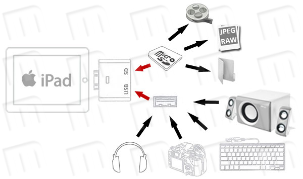 kit ipad camera connection 2en1  entrada usb y lector