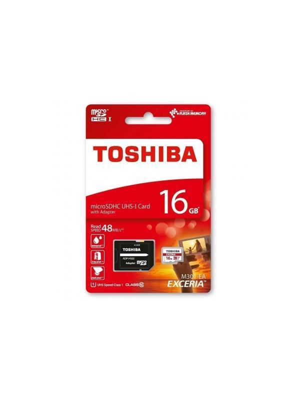microSDHC 16 GB [Clase 10 UHS-I] con Adaptador SD - Tarjeta de memoria microSDHC / microSDXC Toshiba de 16 GB en formato blister y con adaptador SD incluido.