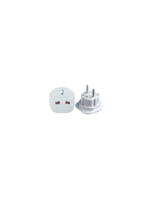 US/CHINA/UK 110v to EURO 220v Schuko Plug Converter - Adapter to use devices with American, English or China 110 volts plug on European Countries where is available 220 volts Schuko type. Example: Use an American TV in Spain.