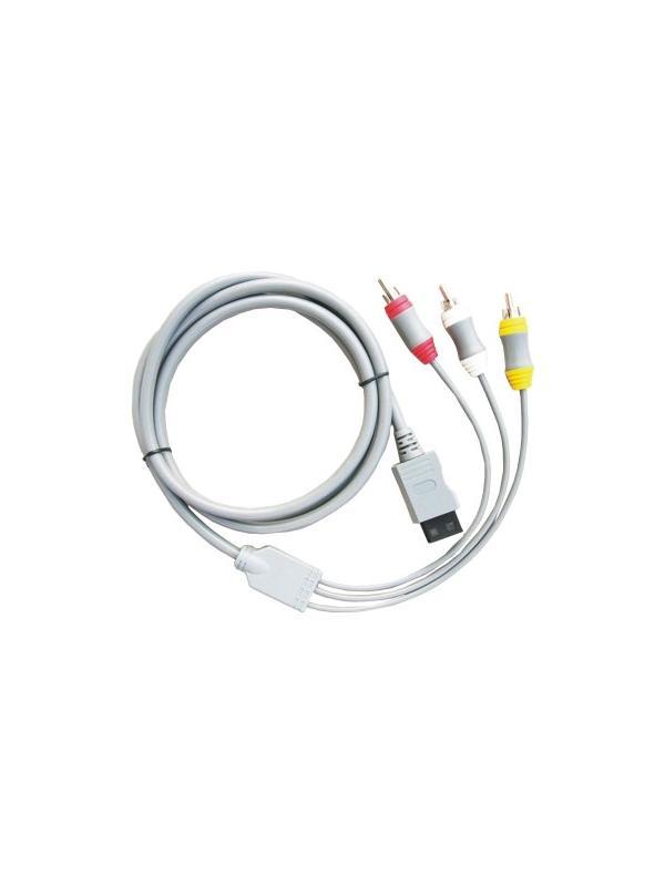 Cable AV para Nintendo Wii - Cable para conetar su Nintendo Wii a televisores o monitores por la típica entrada AV. Lleva un conector RCA Amarillo para la señal del video y 2 conectores RCA para los 2 canales de audio estéreo.